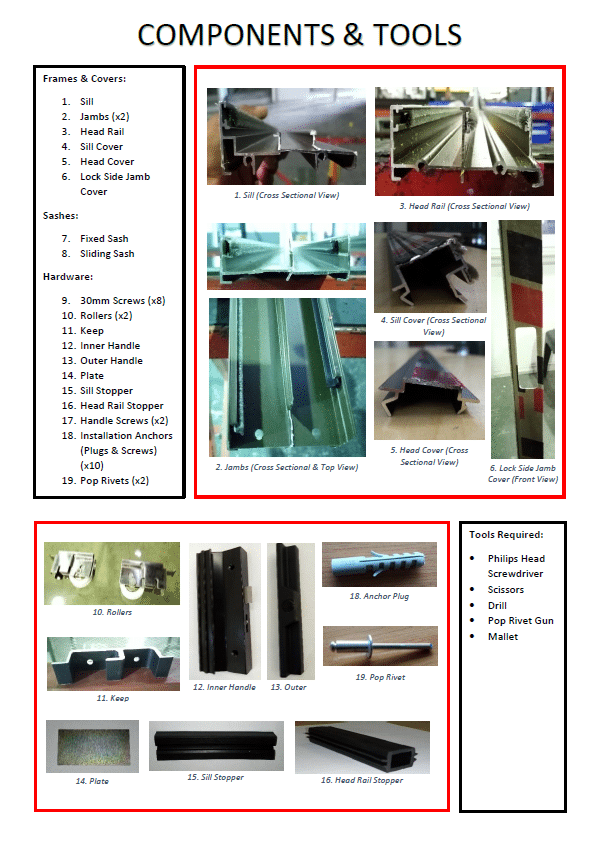 sliding door assembly guide p1